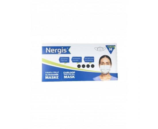 Nergis Telli Lastikli 3 Katlı Cerrahi Maske 50 Adet